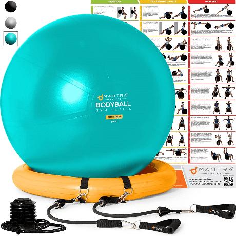 Gymnastikball für Rückenübungen und langes Arbeiten im Büro
