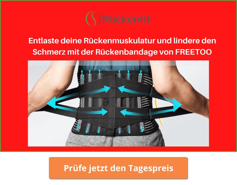 Schmerzentlastung mit der Rückenbandage vor FREETOO
